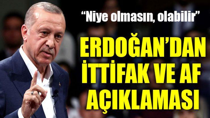 Erdoğan'dan af ve ittifak açıklaması