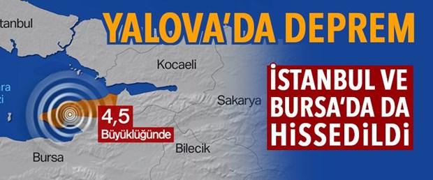 Yalova'da 4.5 büyüklüğünde deprem (İstanbul da sallandı)