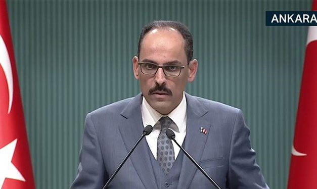 Cumhurbaşkanlığı Sözcüsü İbrahim Kalın, kabine toplantısı sonrası açıklama yapıyor.