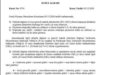 RESMİ GAZETEDE ELEKTRİK DAĞITIM FİRMALARINDA DİREK HALKA ARZ